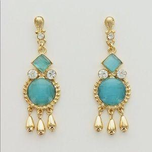 Anthro aqua sun burst gold dangles earrings new